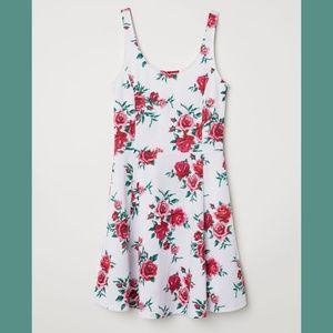 H&M Floral Jersey Fit & Flare Sleeveless Dress